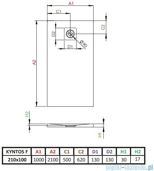 Radaway Kyntos F brodzik 210x100cm antracyt HKF210100-64