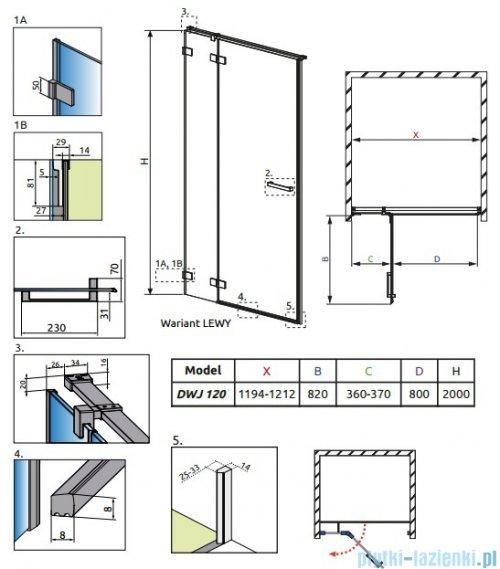 Radaway Euphoria DWJ Drzwi wnękowe 120 lewe szkło przejrzyste 383812-01L/383214-01L