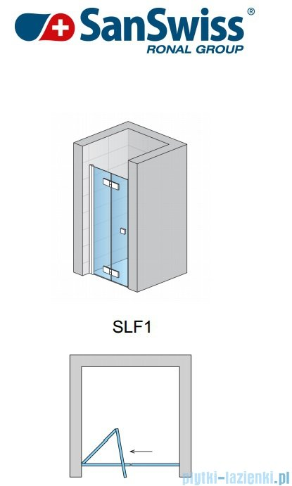 SanSwiss Swing Line F SLF1 Drzwi 2-cześciowe 120cm profil srebrny Lewe SLF1G12000107