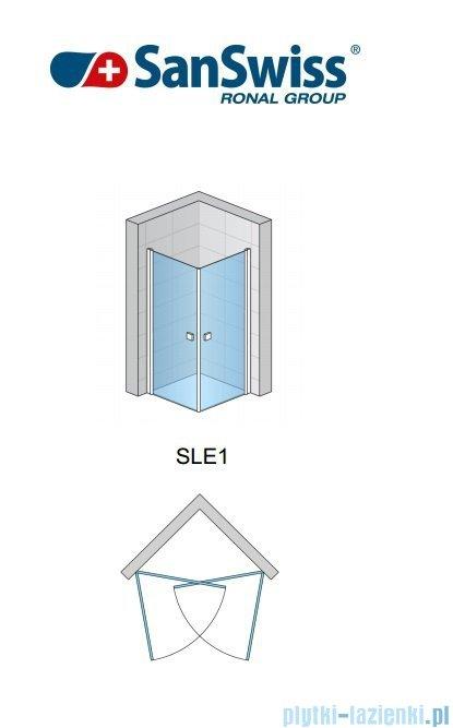 SanSwiss Swing-Line Sle1 Wejście narożne jednoczęściowe 75cm profil biały szkło przejrzyste Lewe SLE1G07500407