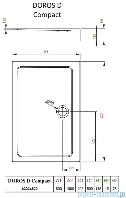 Radaway Doros D Compact brodzik prostokątny 100x80x11,5cm SDRD1080-05