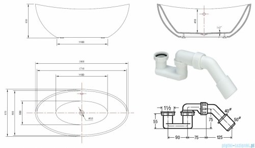 ScandiBath Alta wanna wolnostojąca 180x87cm + syfon klik-klak Q157-1800