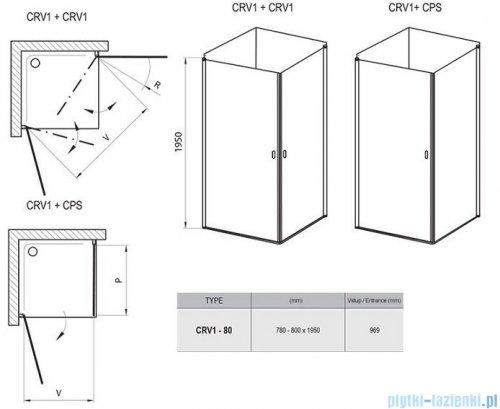 Ravak Chrome CRV1 drzwi prysznicowe 1/2 80cm białe transparent 1QV40101Z1