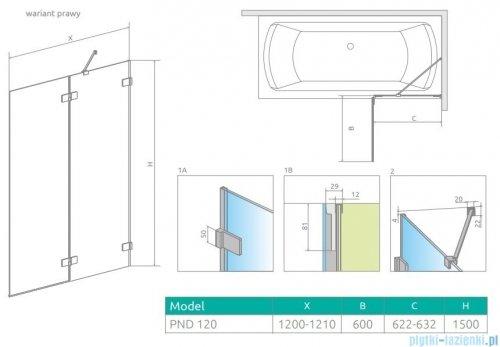 Radaway Euphoria Pnd II parawan nawannowy 120cm prawy szkło przejrzyste 10008120-01-01R
