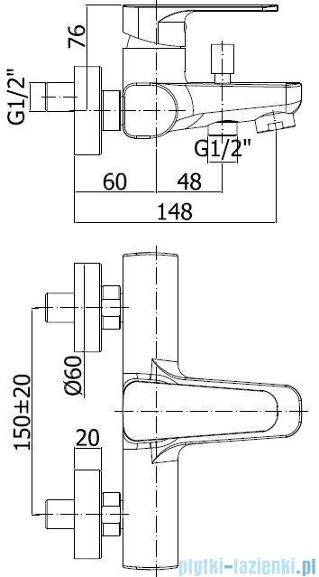 Paffoni Sly Bateria wannowa chrom SY022CR