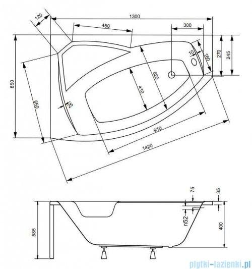 Besco Rima 130x85cm wanna asymetryczna lewa + obudowa + syfon #WAR-130-NL/OAR-130-P/L/19975