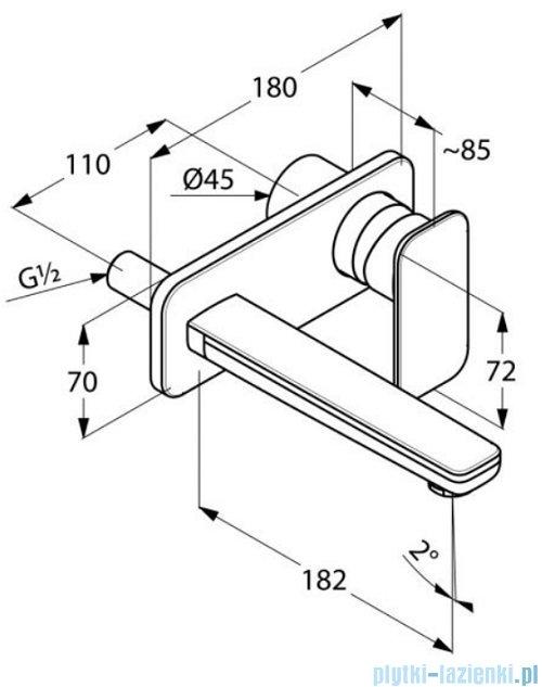 Kludi E2 ścienna bateria umywalkowa chrom 492440575