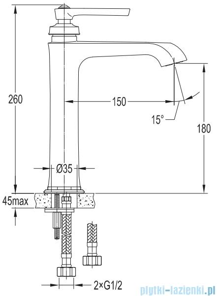 Omnires Armance bateria umywalkowa wysoka chrom AM5212CR
