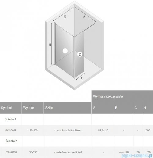 New Trendy New Modus Black kabina Walk-In 120x30x200 cm przejrzyste rysunek techniczny