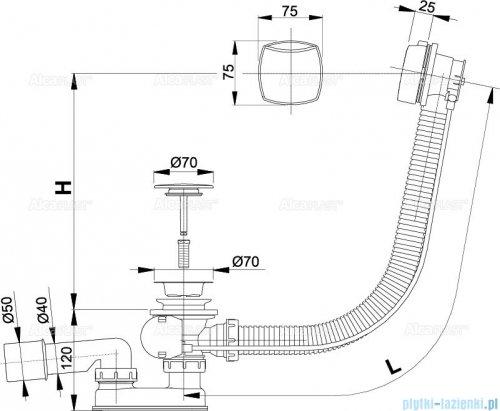 Alcaplast  syfon wannowy automatyczny chrom A51CRM-80