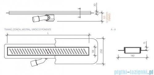 Wiper New Premium Sirocco Odpływ liniowy z kołnierzem 70 cm poler 100.1971.01.070