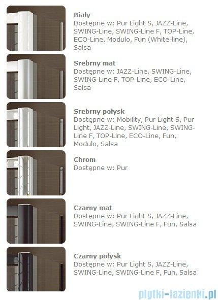 SanSwiss Swing Line F SLF2 Wejście narożne z drzwiami 75cm profil srebrny Prawe SLF2D07500107