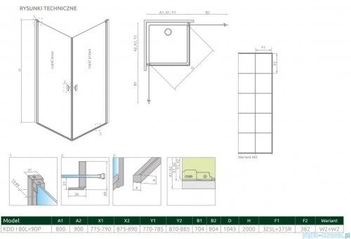 Radaway Nes Black Kdd I Factory kabina 80x90cm rysunek techniczny