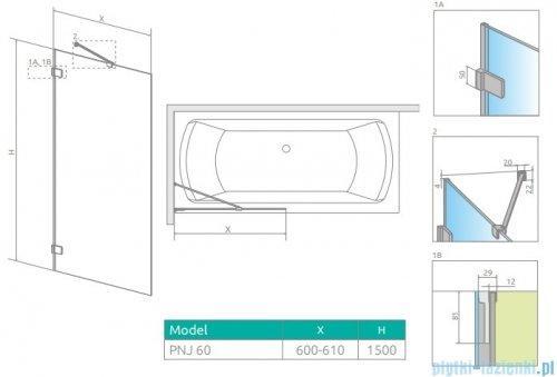 Radaway Euphoria Pnj II parawan nawannowy 60cm L/P szkło przejrzyste 10007060-01-01