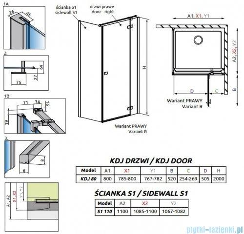 Radaway Fuenta New Kdj kabina 80x110cm prawa szkło przejrzyste 384043-01-01R/384053-01-01