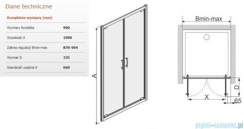 Sanplast Tx drzwi skrzydłowe DD/TX5b 90x190 cm przejrzyste 600-271-1930-38-401