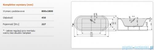 Sanplast Free Line Wanna owalna+stelaż WOW/FREE 180x80+ST25, 610-040-1080-01-000