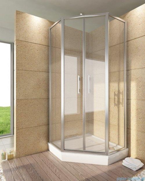 SanSwiss Top-Line Pięciokątna kabina prysznicowa TOP52 z drzwiami otwieranymi 100x100cm MAster Carre/srebrny mat TOP5261000130
