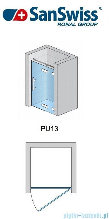 SanSwiss Pur PU13 Drzwi 1-częściowe wymiar specjalny profil chrom szkło Master Carre Prawe PU13DSM21030