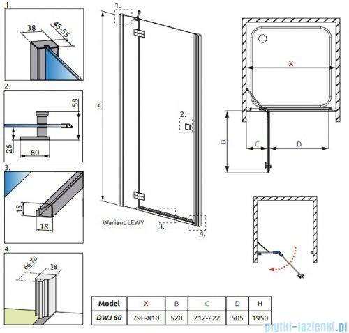 Radaway Almatea DWJ Gold drzwi wnękowe 80 lewe szkło grafitowe 30802-09-05N