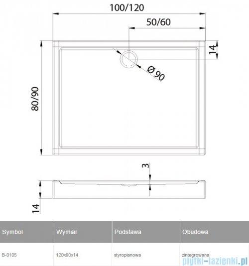New Trendy Columbus brodzik prostokątny zintegrowany 120x90 B-0105