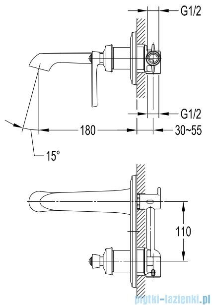 Omnires Armance bateria umywalkowa podtynkowa miedź antyczna AM5215ORB