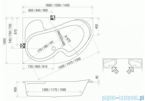 Ravak Wanna asymetryczna Rosa 150x105cm Prawa CJ01000000