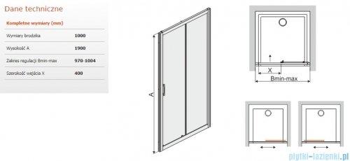 Sanplast Tx drzwi przesuwne D2/TX5b 100x190 cm przejrzyste 600-271-1110-38-401
