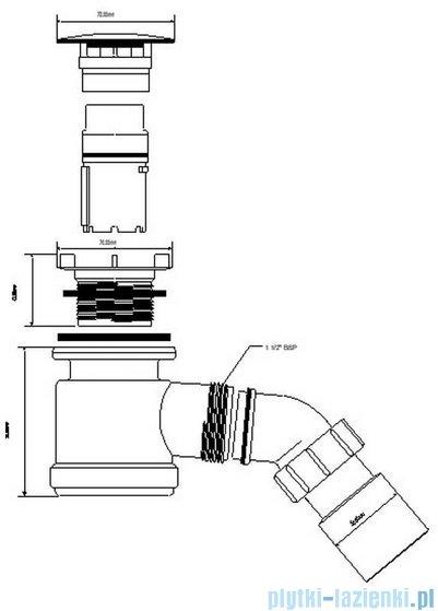 McAlpine Syfon brodzikowy 50'' pokrywa kolorze satyna HC26-SC