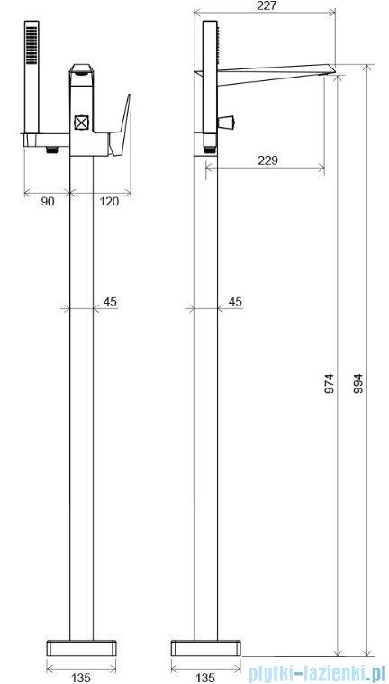 Ravak Freedom bateria wannowa podłogowa X070079