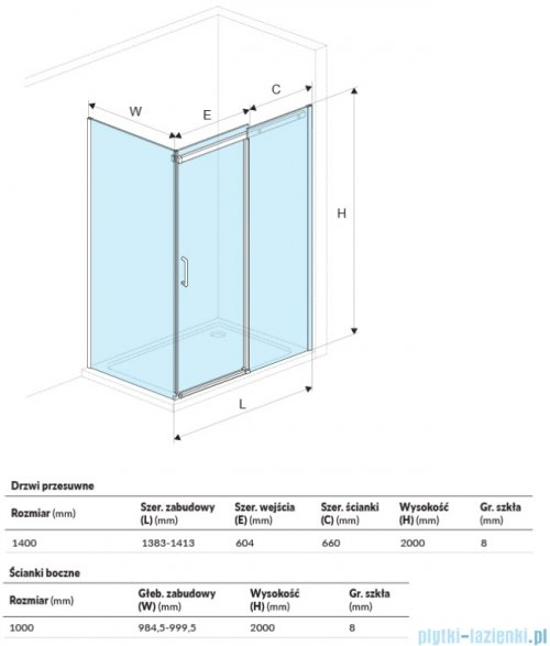 Excellent Rols kabina prostokątna 140x100 cm przejrzysta