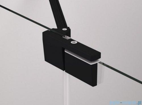 SanSwiss Cadura Black Line drzwi wahadłowe 140cm jednoczęściowe lewe z polem stałym czarny mat CA13G1400607