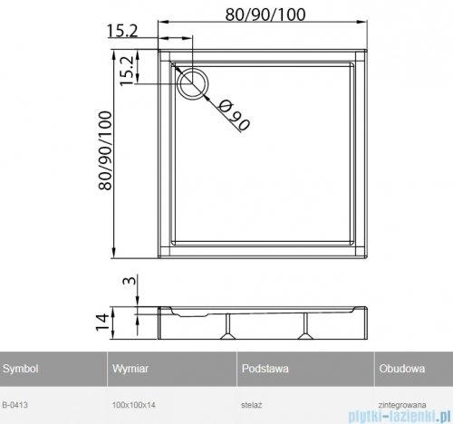 New Trendy Columbus brodzik kwadratowy zintegrowany 100x100x14cm B-0413