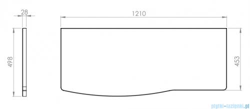 Elita Rolly blat szafkowy lewy 121x50cm dąb classic 167802
