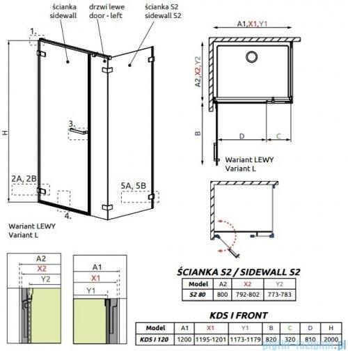 Radaway Arta Kds I kabina 120x80cm lewa szkło przejrzyste + brodzik Doros D + syfon rysunek techniczny