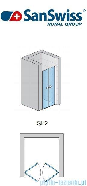 SanSwiss Swing Line SL2 Drzwi 2-częściowe 50-90cm profil biały SL2SM10407