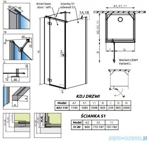 Radaway Essenza New Kdj+S kabina 80x110x80cm lewa szkło przejrzyste 385023-01-01L/384051-01-01/384051-01-01