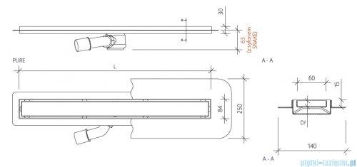 Wiper New Premium Pure Odpływ liniowy z kołnierzem 90 cm mat 100.1973.03.090