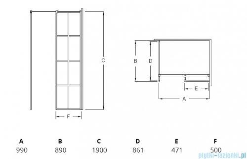 Besco Excea kabina walk-in 100x90cm przejrzyste EXC-109-190B