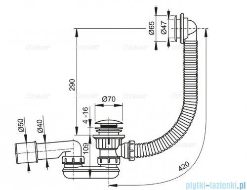 """Alcaplast syfon brodzikowy 50"""" CLIK/CLAK  metal A503KM"""