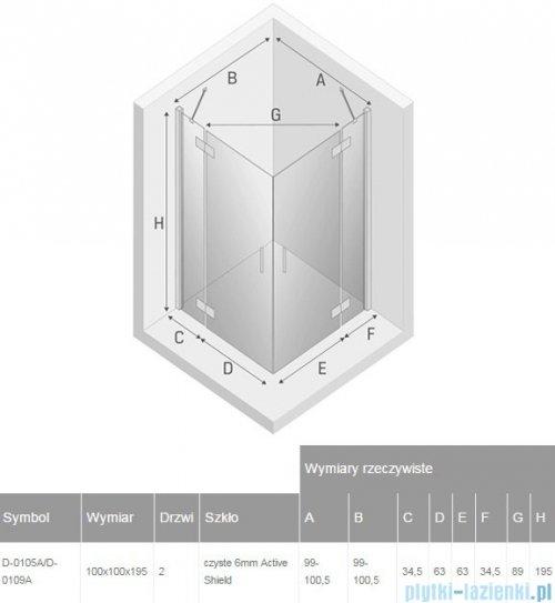 New Trendy New Renoma kabina kwadratowa 100x100x195 cm przejrzyste D-0105A/D-0109A