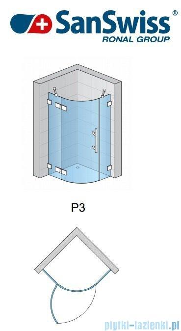 SanSwiss Pur P3 Kabina półokrągła 75-120cm profil chrom szkło przezroczyste Lewa P3G50SM11007
