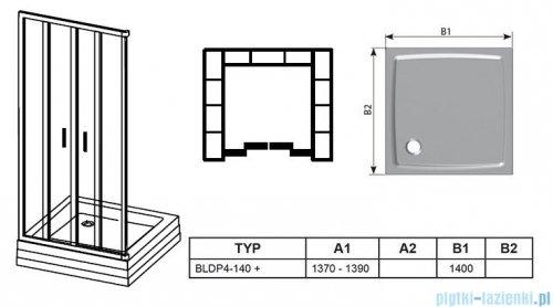 Ravak Blix BLDP4 drzwi prysznicowe 140cm aluminium grape Anticalc 0YVM0C00ZG