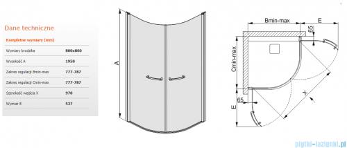 Sanplast kabina narożna półokrągła  KP2/PRIII-80 przejrzyste 80x80 600-073-0520-01-401