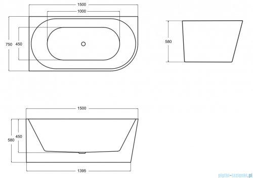 Besco Zoya 150x75cm wanna asymetryczna z obudową prawa + syfon #WAS-150-ZP
