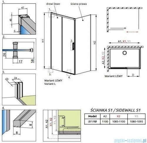 Radaway Idea Black Kdj ścianka boczna 110cm prawa szkło przejrzyste 387053-54-01R