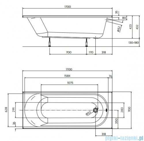 Koło Opal Plus Wanna prostokątna 170x70cm rysunek techniczny