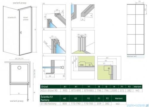 Radaway Nes Black Kdj I Factory kabina 90x80cm prawa rysunek techniczny