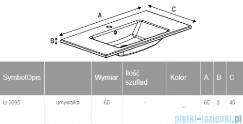 New Trendy umywalka ceramiczna z otworem na baterię 65 cm U-0095