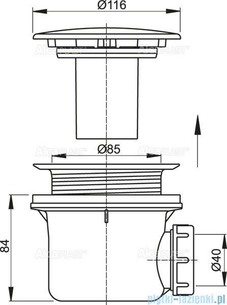 Alcaplast syfon brodzikowy Ø90 korek chrom A49CR